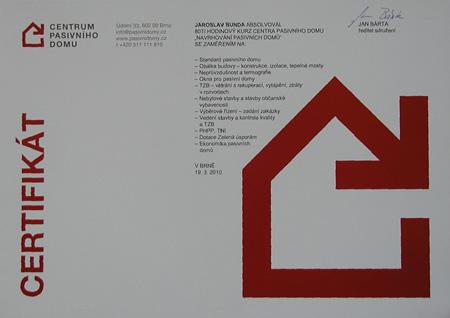 Certifikát Jaroslav Bunda