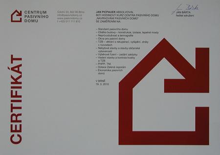 Certifikát Jan Picpauer